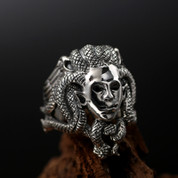 ZABRA Luxury Solid 925 Sterling Silver Men Ring Budda God Head Vintage Black Color Punk Mens Rings Domineering Gothic Jewelry