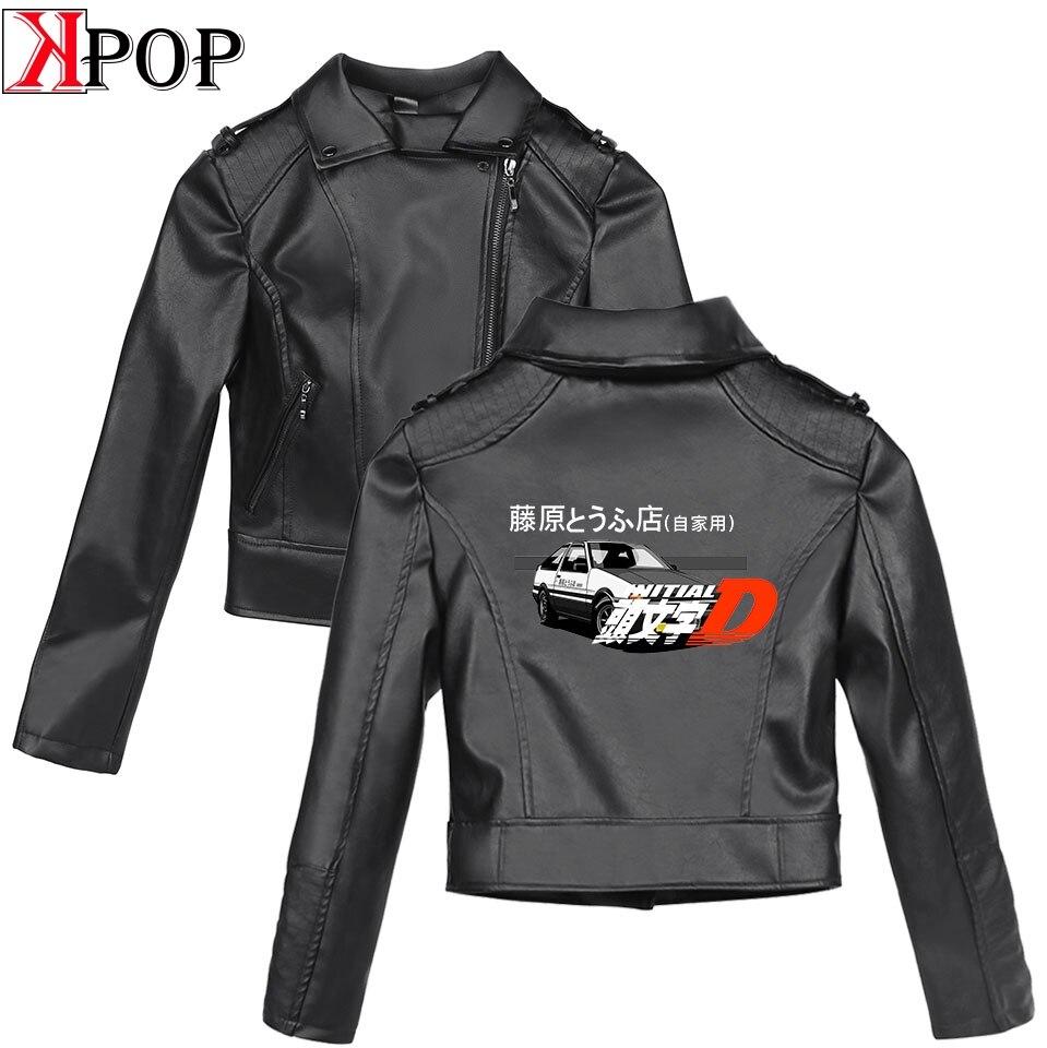 Lnlitial D SHEIN 2019 New Clothes print Black PU   Leather   Jackets Women Slim women's   leather   jacket   Leather   Brand Coat