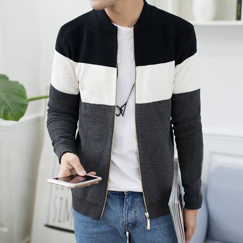 Men's Sweater Jacket 2019 New Zip Cardigan Knit Sweater Fashion Striped Standing Collar Men's Cardigan Sweater Casual Jacket