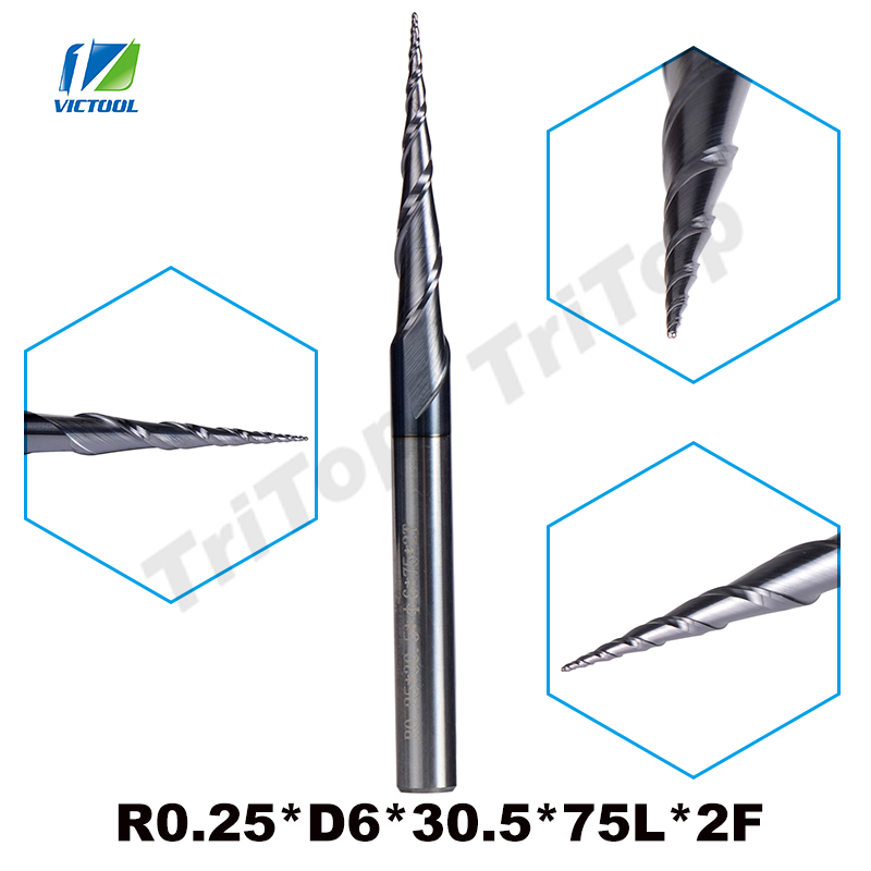 цена на 2pcs/lot R0.25*D6*30.5*75L*2F HRC55 Tungsten solid carbide Coated Tapered Taper Ball Nose End Mill cone type cnc milling cutter
