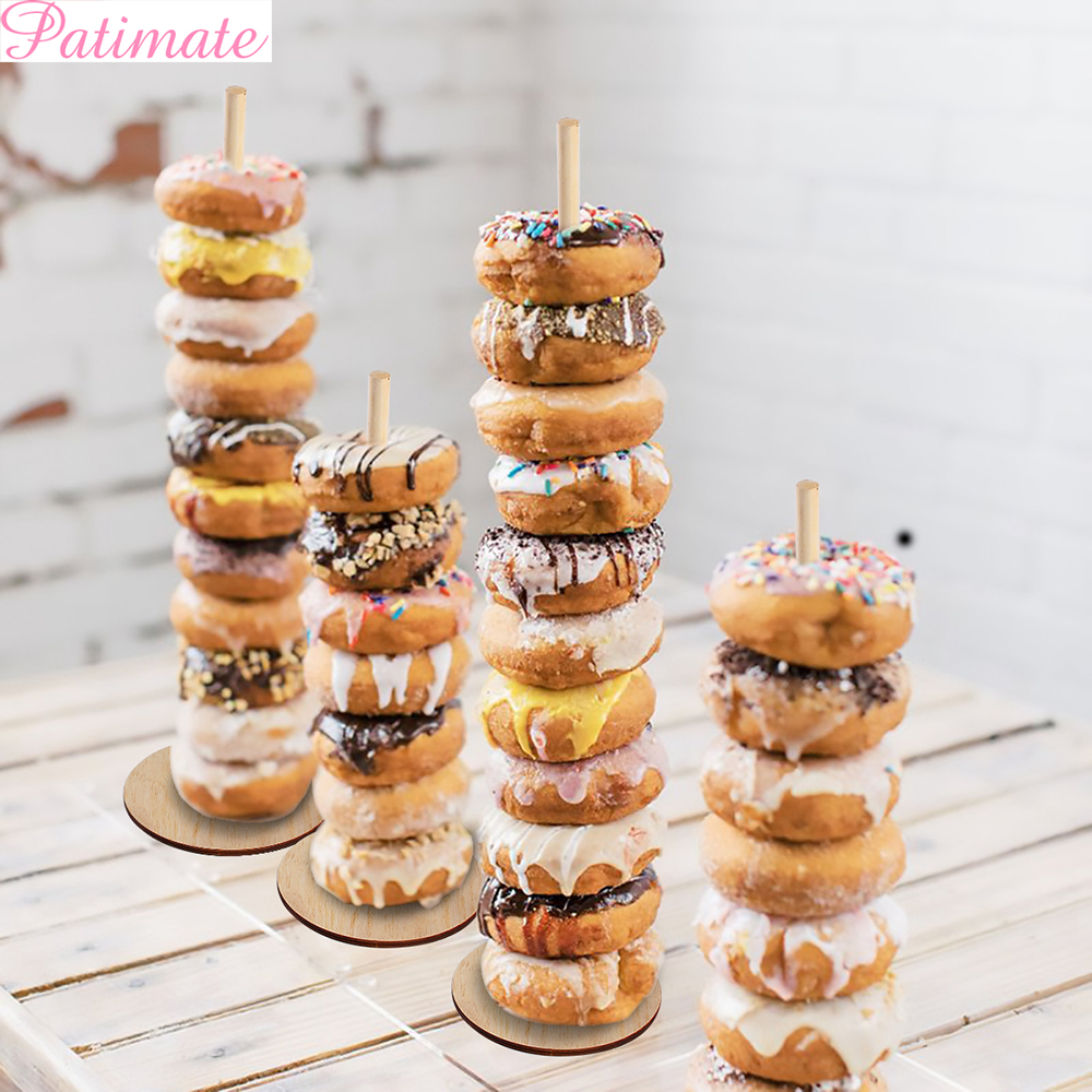 Patimate Wooden Donut Stands For Wedding Party Decoration Baby Shower Donut Holder Dessert Stand Birthday Party Decor Supplies