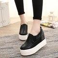 2016 НОВАЯ Мода Клинья Платформы Повседневная Обувь Женщина Черный Белый Криперс Босоножки Повседневная Обувь На Платформе Zapatos Mujer 3 цвета