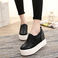 2016 NUEVA Moda Cuñas Plataforma Zapatos Casuales Blanco Negro Mujer Creepers Cordones Zapatos Ocasionales de la Plataforma Zapatos Mujer 3 colores