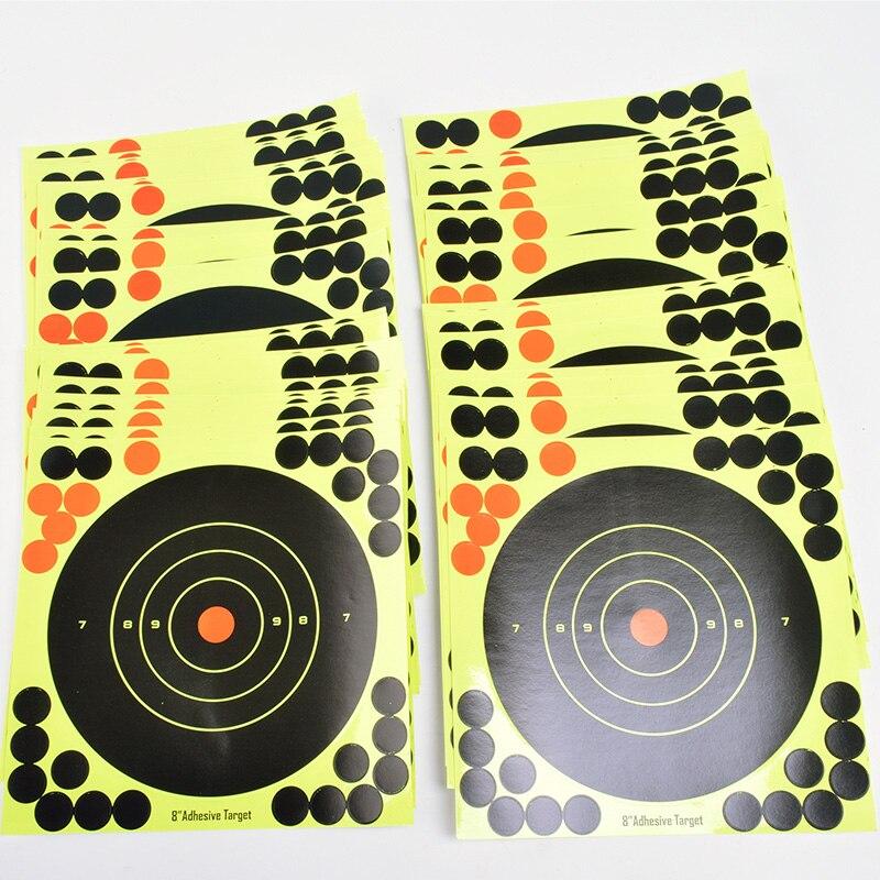 """Купить с кэшбэком 50PCS Adhesive Shooting Targets Glow Shot Reactive  8"""" Splatter Gun and Rifle Target Paper"""