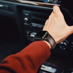 Image 4 - Bracelet en cuir véritable de vache pour Apple bracelet de montre 42 mm 44 mm vioto pour montre iWatch 5 4, marron foncé