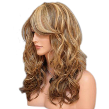 Long light blonde curly synthetic wig