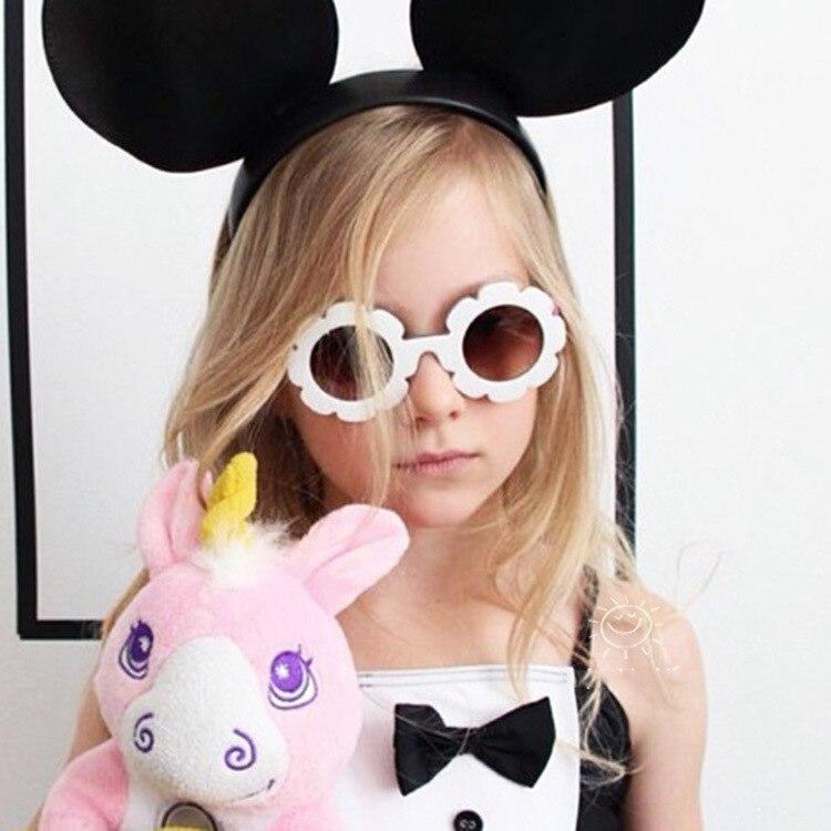 2019 nette Sonne Blume Runde Sonnenbrille für Kinder Jungen Mädchen Sonne Blume Kind Gläser mit UV Schutz