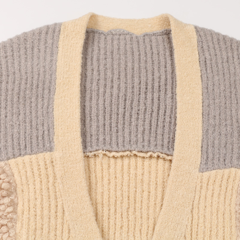 Tricoté Patch Chandail Vêtements Manches De Fourrure Chart Automne See Femmes Longs Nouvelle Cardigan Outwear Longues Lâche Chandails Mode À nF4WwzB