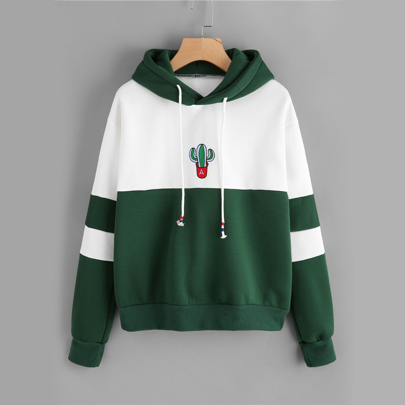 Cactus Embroidered Ladies Hoodie