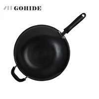 JUH Iron Rust Wok Fine Iron Wok Cooking Pot 32cm FC32T11 Coating Woks Smokeless Portable Cooking Pot Kitchen Tools Cookware
