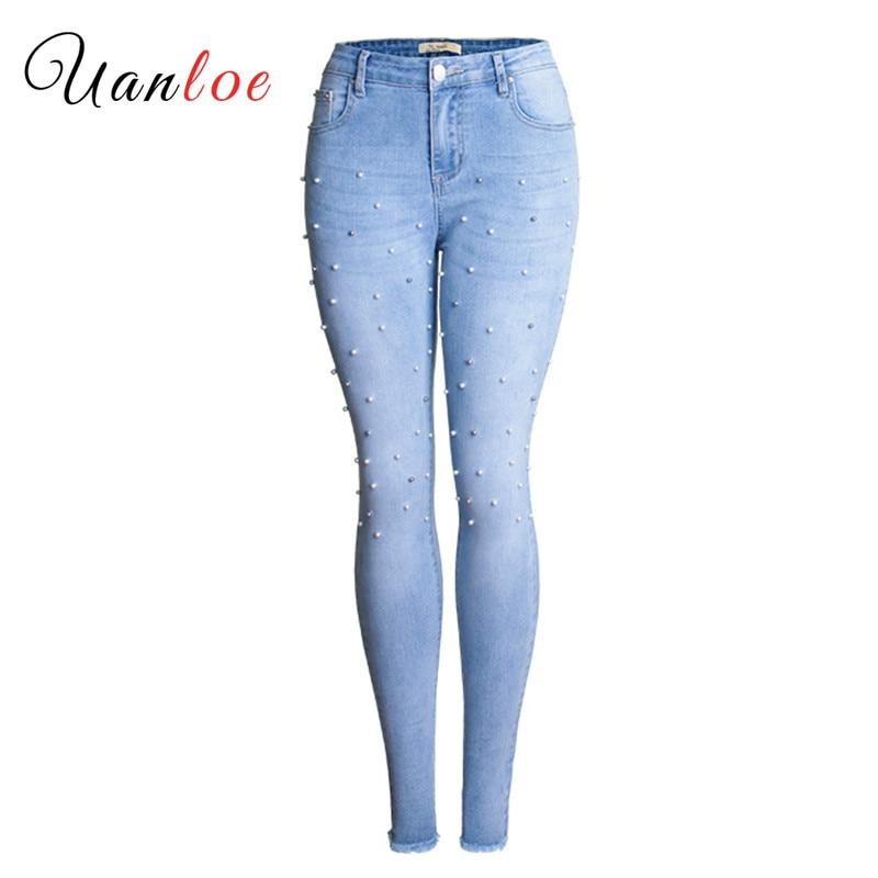 2019 taille haute Jeans mode dames coton perle Jeans Denim pantalon Stretch femmes déchiré Skinny Jeans pour femme