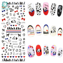 цена на DS274 Water Transfer Foils Nail Art Sticker Harajuku Design Pet Dogs Blue Red Water Decals Manicure Decorations Tools Sticker