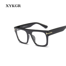 XYKGR new womens optical computer glasses frame large square black box leopard men and women