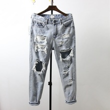 Japan Style Ripped Destroyed Jeans 2017 New Arrivals Male Destroy Washed Drop Crotch Ankle Length Denim Pants