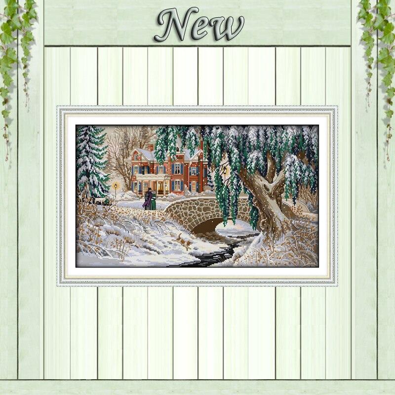 Crăciun Peisaj acoperit de zăpadă, tipărit pe panza DMC 11CT 14CT - Arte, meșteșuguri și cusut