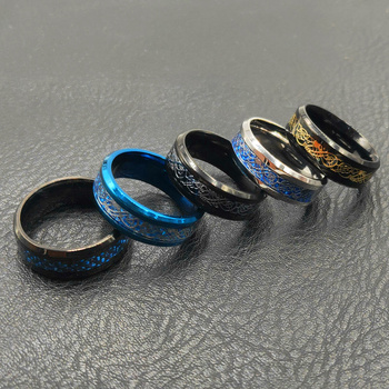 Blue Black Silvering Irish Dragon Titanium Carbide Ring Wedding Bands
