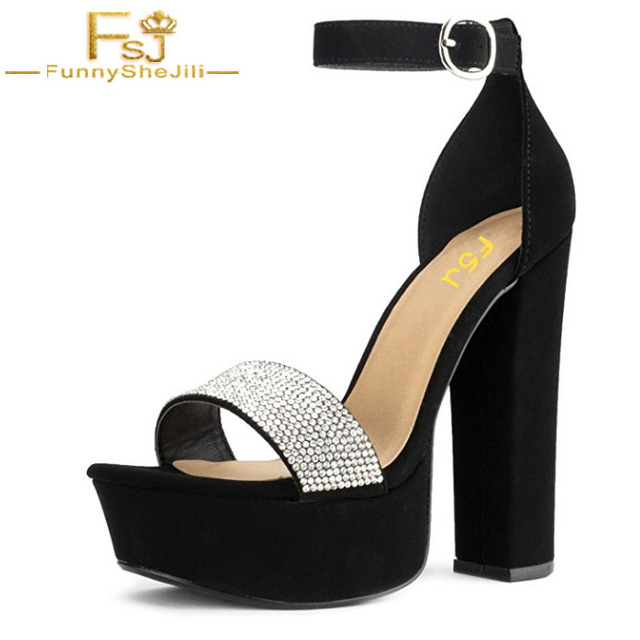 479ec4d5b63 US $68.39 10% OFF RF ROOM FASHION Ho Lo High Chunky Heel Open Toe Dress  Sandal Platform Pumps with Buckle Ankle Strap Evening Shoes Size 16 FSJ -in  ...