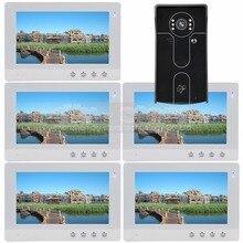 DIYSECUR 10 inch Video Door Phone Video Intercom Doorbell Home Security System RFID Camera IR Night Vision 1 Camera 5 Monitors