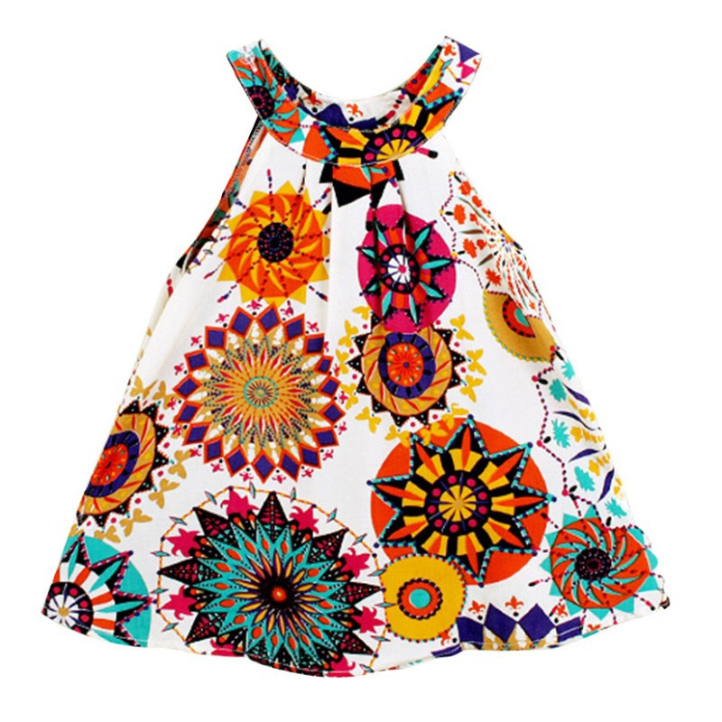 Summer Toddle Kids Clothes Girls Dress Sleeveless Floral Princess Party Dress A-Line Dresses 3-8Y