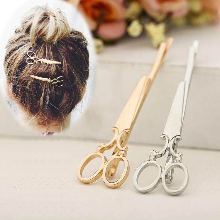2pcs Punk Smooth Scissors Shape Hairpins Gold Silver Creative Hairclips Hair Accessories for Women Girls Barrettes Bobby Pins halloween party zombie skull skeleton hand bone claw hairpin punk hair clip for women girl hair accessories headwear 1 pcs