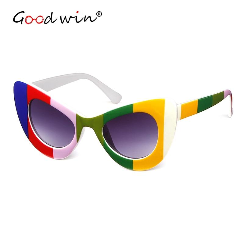 GOOD WIN Sexy Super Cat Eye sunglasses Women Vintage Clout Goggles Chunky Wrap Rim 2018 brand Vintage Sun Glasses lunette de sol