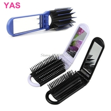 Portable Travel Folding Hair Brush With Mirror Compact Pocket Size Comb #Y207E# Hot Sale