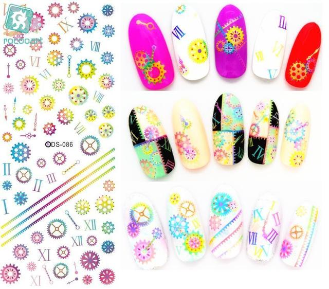 Rocooart DS086 Nail Water Transfer Nails Art Sticker Rainbow Gears Harajuku Nail Wraps Sticker Tips Manicura Fingernails Decals