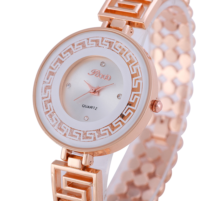 ROOD Women Quartz Wristwatches Round Brand Design Beads Strap Ladies Watch Crystal Filled relogio masculino R7176