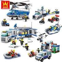 Wange City Police Building Blocks Classical DIY Police Station Car Model Building Blocks Toys For Children