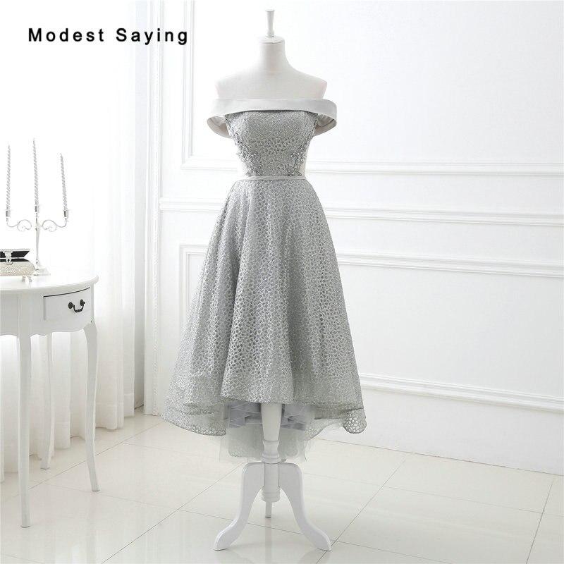 Elegant Grey A-Line Off Shoulder Beaded Cocktail Dresses 2017 With Lace Up Back Tea-Length Party Prom Gown Vestidos De Coctel