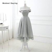 Elegant Grey A Line Off Shoulder Beaded Cocktail Dresses 2017 with Lace Up Back Tea Length Party Prom Gown vestidos de coctel