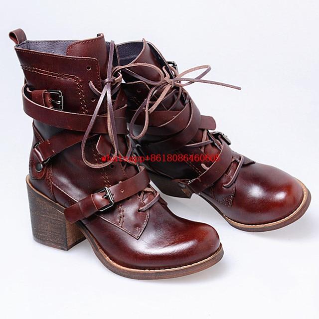 Choudory Chaussure femme western cheville bottes pour femmes en cuir  véritable pluie bottes plate-forme 3655709a563d