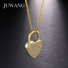 цена на JUWANG Heart Lock CZ Pendant & Necklace for Woman Girl Cubic Zirconia Rose Gold/Gold Sliver Color Chain Jewelry Gift Wholesale