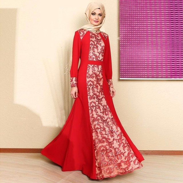 2017 Saudi Arabia Red Muslim Evening Dresses Long Sleeves Vestidos ...