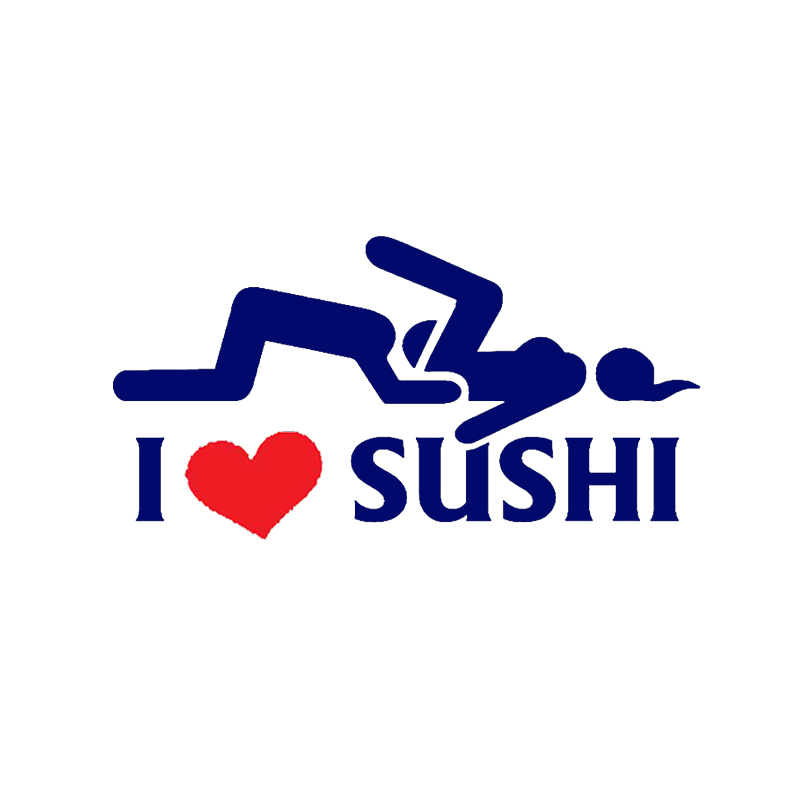 12*6cm Car-styling I Love Sushi Car Stickers Window Rear Windshield Motorcycle Vinyl Decal Car Body Funny Sticker Black/Sliver