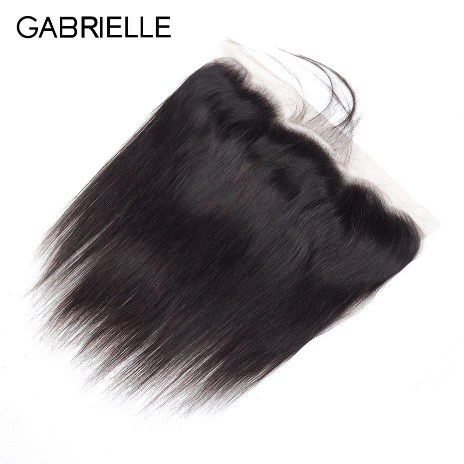 Gabrielle Ear Lace Closure Human-Hair Lace-Frontal Indian Straight Natural-Color 13x4