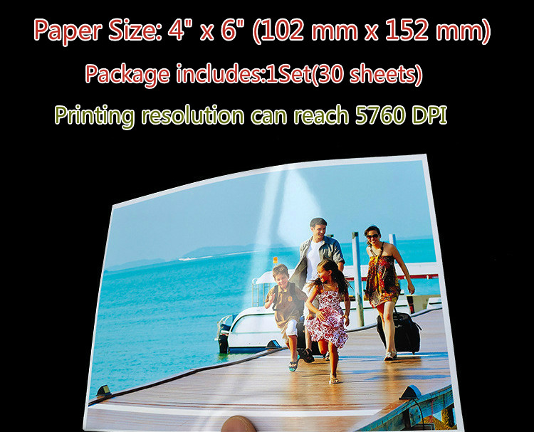 Photo-Paper Imaging-Supplies Inkjet-Printer Color-Coated Glossy 30-Sheets 4R for 4x6