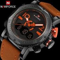 NAVIFORCE Brand Men Sport Watches Dual Display Watch Men LED Digital Analog Clock Orange Quartz Watch 30M Waterproof Male Clock