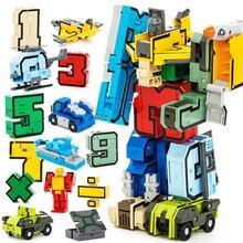 Креатив Собрание образовательных блоков Действие Фигура Число Преобразование Робот Деформация Плоский автомобиль Подарочные игрушки для детей Кирпичи