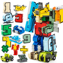 все цены на Transformation Number Figures DIY Creative Building Blocks Robot Deform Plane Car Creator Bricks Toys for Children онлайн