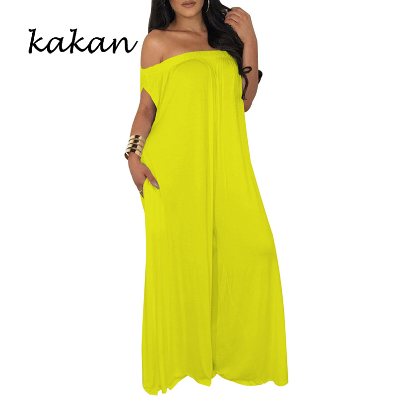 Kakan summer new women's   jumpsuit   fashion large size sexy word shoulder ultra wide   jumpsuit   without belt