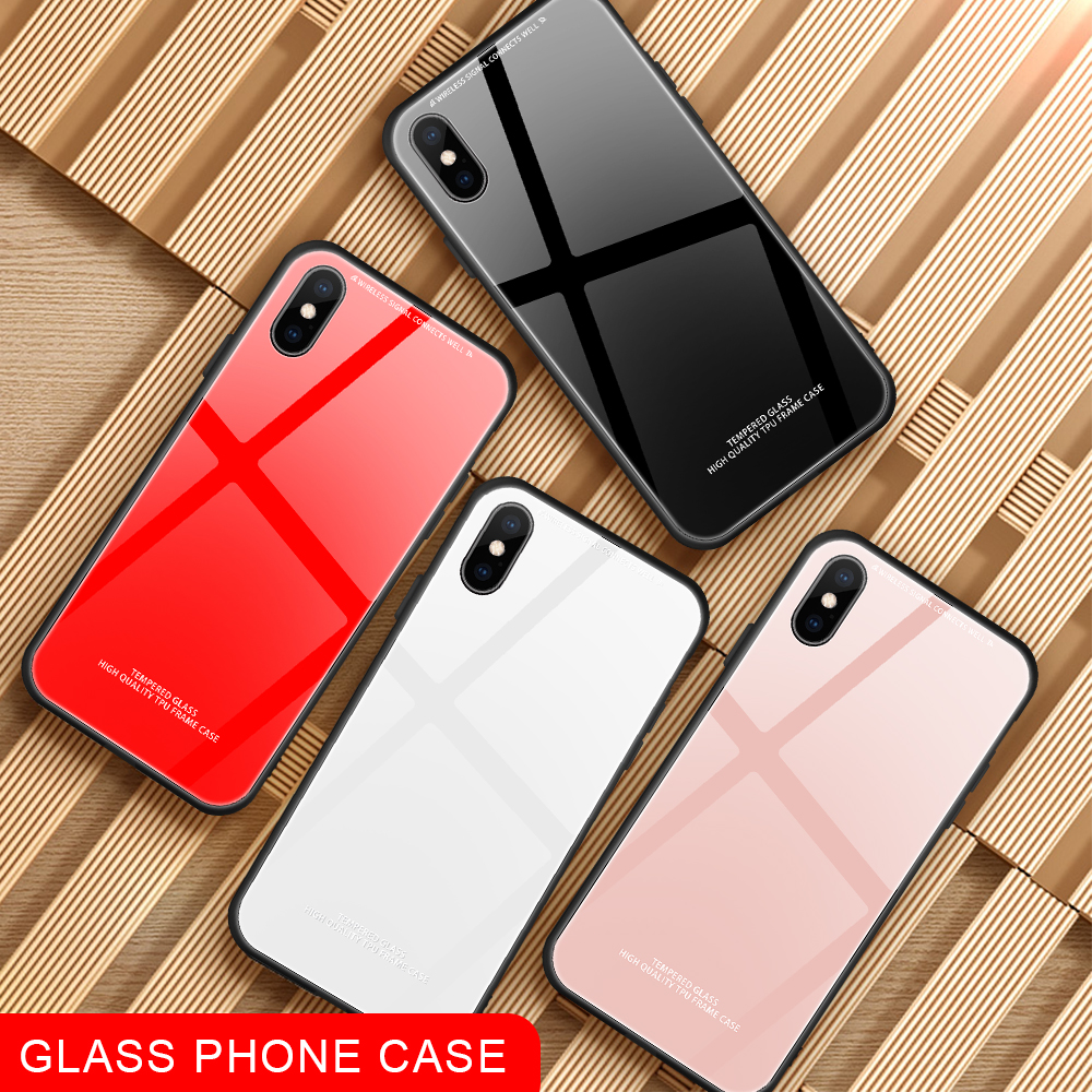 Tempered Glass Case For iPhone 6 6S Plus X XS MAX XR Luxury Hard Back Cover Red Phone Cases For iPhone 7 8 Plus Silicon Bumper