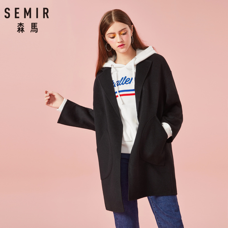 SEMIR Women Felted Wool Blend Coat Lined with Snap Button Closure Women s Coat with Pocket