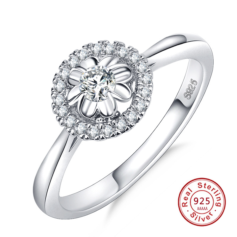 New Authentic 925 Sterling Silver Round Shape Clear CZ Flower Finger Rings for Women Ring Jewelry