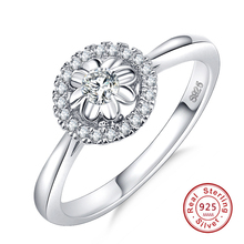 New Authentic 925 Sterling Silver Round Shape Clear CZ Flower Finger Rings for Women Ring Jewelry for girl birthday gift 5678910