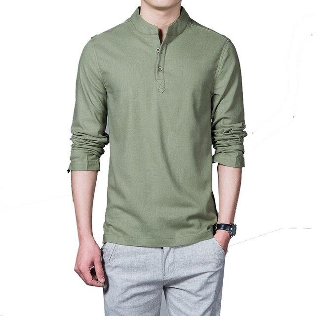 Linen long sleeve casual mens shirts  3