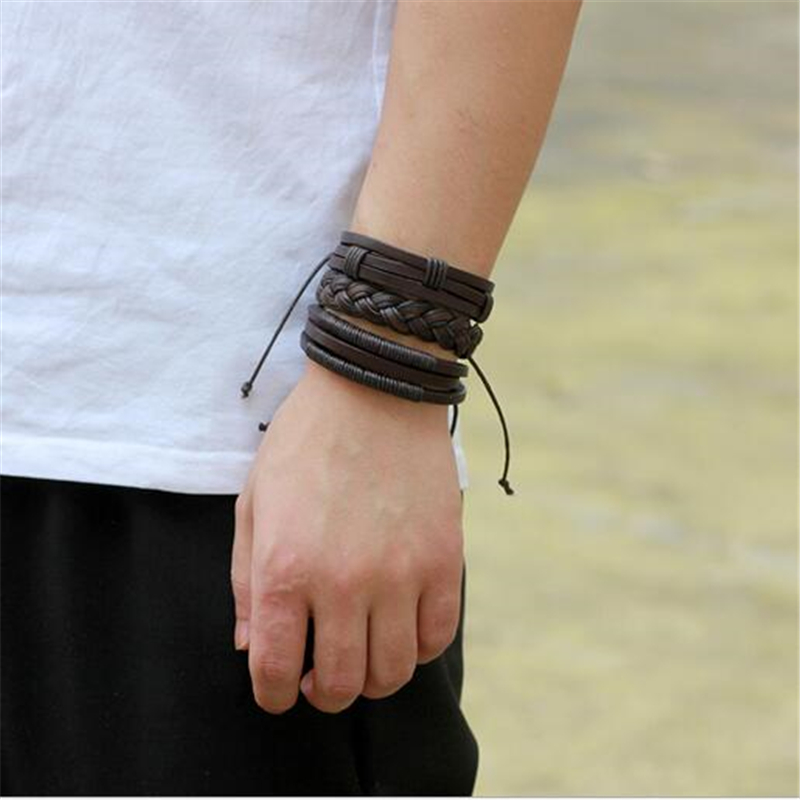 3pcs/set Fashion Genuine Leather Bracelet Men Charm Handmade ...