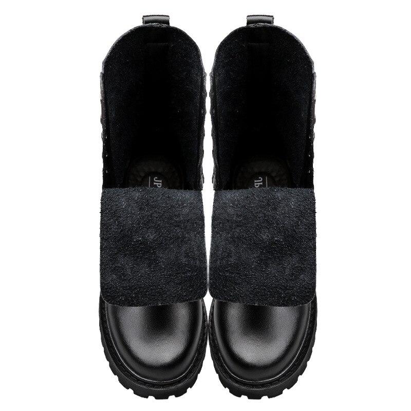 Hommes Avec Cuir Marche Black Casual Véritable En D'équitation Chaussures Hombre Bottes Boots D'hiver Fur Fourrure Moto Botas With Grande 50 Taille Merkmak Militaire black Boots IP7q8En