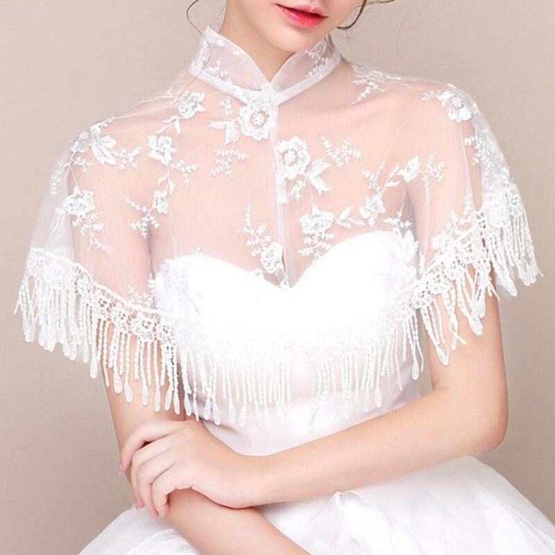 Fashion Neck Jacket Wedding Bolero Floral Lace Tassel Sexy Bridal Wraps Cape Women Shrug