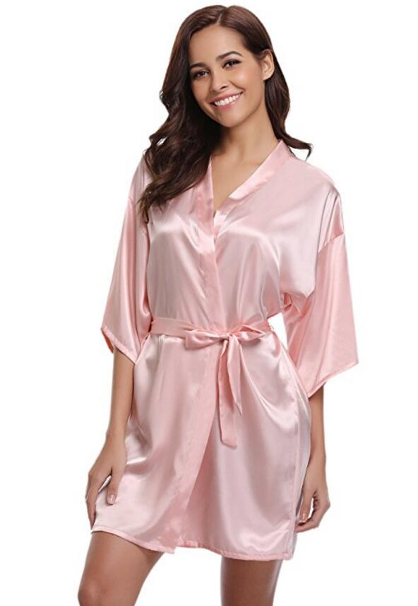 RB032 2018 New Silk Kimono Robe Bathrobe Women Silk Bridesmaid Robes Sexy Navy Blue Robes Satin Robe Ladies Dressing Gowns(China)